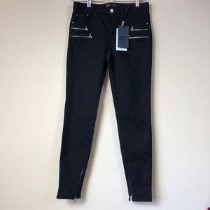 Zara Basic Denim Black Zipper Skinny Jeans NWT 6